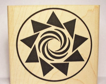 Crop Circle Rubber Stamp 9 Pointed Star with Swirl Center #1100