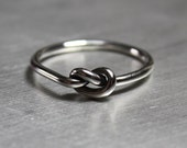 Sterling Silver Knot Ring Simple and Thin in Shiny or Matte Finish