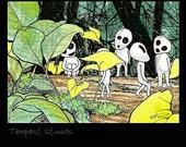 Tree Spirits ACEO 2.5x3.5 Print Mini Anime Miyazaki Trading Card Art