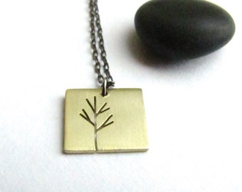 Tiny Sapling Bare Branch Tiny Tree Art brass pendant - ready for Fall- made to order