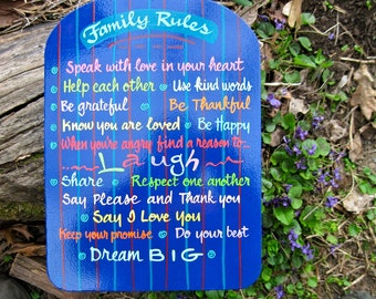 Family Rules Sign, Cheerful, multi-colored, Positive, Inspiring, Made-To-Order