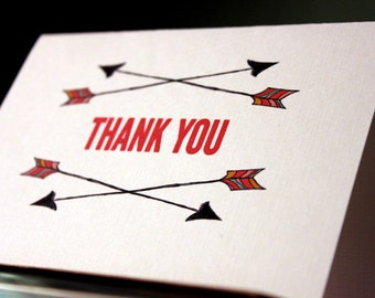 Arrows folded Thank You cards-set of 4