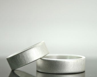 Simple Wedding Band Set - Matching Rings - Sterling Silver Matte Finish 6 mm Bands - For Men or Women - Promise Rings - Minimalist Jewelry