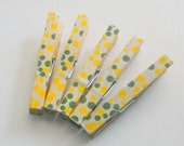 Decorative Clothespins Green Yellow Dot Full Size Set of 5