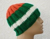 Ribbed beanie hat, green, white, orange, striped hat, skull cap, gamer, men's hat, Irish hat, knit hat, ski snowboard hat, biker cap, skate