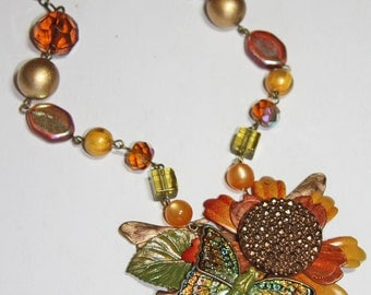 Vintage Enamel Flower and Butterfly Statement Necklace - Green, Gold - OOAK