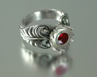RED  LOTUS silver ring with Ruby