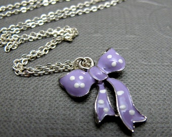 "Sweet Lilac Bow Necklace // Light Purple Enamel Ribbon Bow Charm // 17"" Silver Chain // Gift under 20"