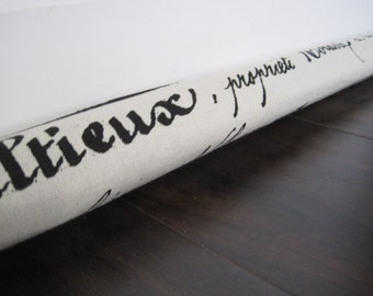 custom length door draft stopper, draft snake, draught excluder, draft stopper / french script print