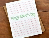 Watercolor Mothers Day Card - card for mothers day - pink and green polka dots - cards