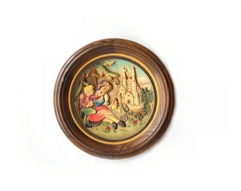 Vintage Anri Mothers Day Plaque, Carved Wood Collector Plate, Mother and Son, 1974