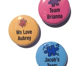 Personalized Autism Pin, Magnet, or Pocket Mirror - Autism Awareness Pinback Button, Autism Walk Fundraiser Pin, Puzzle Piece, fridge magnet