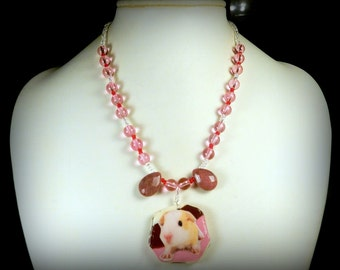 Pink BABY GUINEA PIG Polymer Clay Pendant with Glass & Rhodonite Beaded Necklace