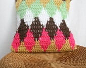 """SALE, Crochet Decorative Pillow with Little Diamonds in , Pink, Tan, Mint, Brown and White, 12"""" x 12"""""""