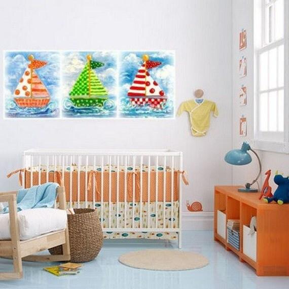 Nautical Nursery Three sailboat kid prints green red orange theme cute bright happy