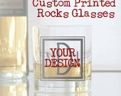 Custom Printed Rocks Glasses, Your Artwork - Set of 8