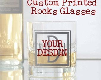 Custom Printed Rocks Glasses, Your Artwork - Set of 8