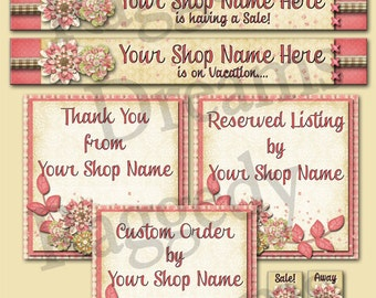Premade Etsy Banner - Etsy Shop Banner - SHOP ICON - Shop Profile Photo - Pink Floral Cluster - Raggedy Dreams Etsy Shop Design