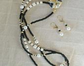 Black and Crystal Elegance vintage with Swarovski pearls and crystals and vintage clasp
