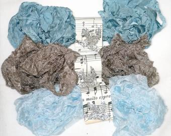Seam Binding - 18 YARDS - Crinkled - SKY -  Blue - Taupe Ribbon - Light Blue Ribbon , Shabby Ribbon Vintage Style Ribbon