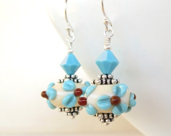 Desert Blossom lampwork earrings in sterling silver