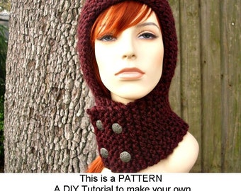 Instant Download Knitting Pattern - Knit Hat Knitting Pattern - Knit Hat Pattern for Warrior Helmet Scarf Hat Balaclava Womens
