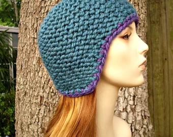 Knit Hat Womens Hat - Garter Helmet Blue Ear Flap Hat in Teal Blue Knit Hat - Blue Hat Blue Beanie Womens Accessories Winter Hat