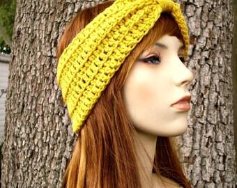 Womens Crochet Headband - Crochet Turban Headband in Marigold Mustard Yellow Headband Womens Accessories
