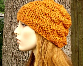 Orange Womens Hat Mens Hat - Basket Weave Beanie Apricot Orange Knit Hat - Orange Hat Orange Beanie Womens Accessories Winter Hat