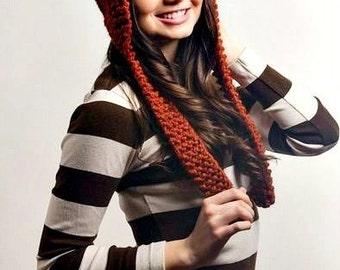 Knit Hat Orange Womens Hat - Orange Ear Flap Cat Hat in Rust Orange Knit Hat - Orange Hat Orange Cat Hat Womens Accessories Winter Hat