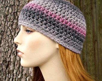 Crochet Hat Womens Hat - Biloxi Skullcap Beanie in Shadow Grey Charcoal Pink Crochet Hat - Womens Accessories Winter Hat