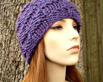 Knit Hat Womens Hat - Basket Weave Beanie in Violet Purple Knit Hat - Purple Hat Purple Beanie Womens Accessories Winter Hat