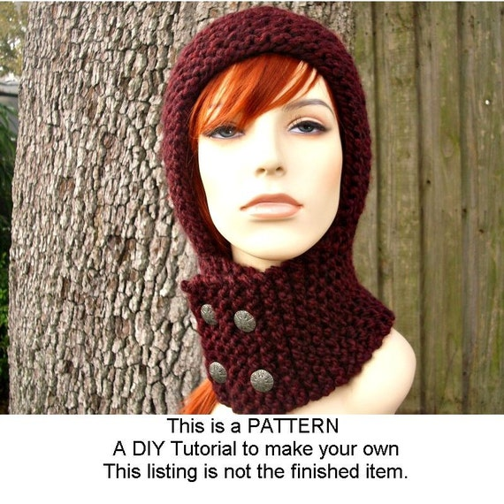 Ladies Balaclava Knitting Pattern : Instant Download Knitting Pattern Knit Hat Knitting Pattern