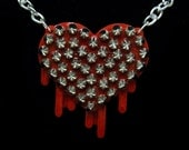 Too Hot For Love - Spiked Edition - Metallic Red Pearl - Resin Dripping Heart Necklace