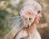 Bridal bandeau veil, silk flower headpiece - Silk flower bouquet with bandeau birdcage veil - Style 304 - Made to Order