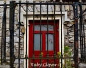Red Door and Black Gate in IRELAND, Irish Town Photo, Grey Brick City Building, Red Door on Stone House, Gray and Red, European Architecture