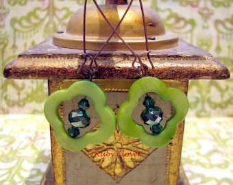 SALE, Green Clover Earrings,Teal Glass Beads,Copper Wires, Aibreann, Irish Jewelry, Quatrefoil, Shamrocks, Ireland Inspired, Made in Chicago