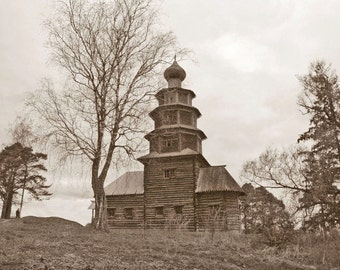 Russian Wooden Chapel. Ancient Architecture. Onion Dome Church. Pine trees. Sepia. Torzhok, Russia.
