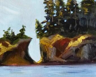 Coastal Oil Painting, Original 8x10 Canvas, Small Beach Scene, Oregon Coast Landscape, Wall Decor, Seascape, Evergreen Trees, Pacific Ocean