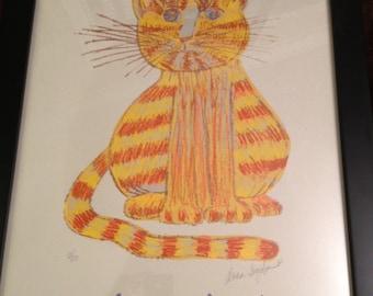 "Hand silkscreened print of an orange tabby cat, framed. 18-3/4"" W x 22-3/4"" H. **NEW LOWER PRICE!**"