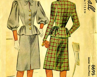 McCall 6695 Two Piece Dress Suit with Split Peplum circa 1946