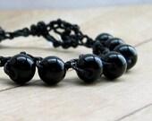 Black Beaded Bracelet, Single Wrap Bracelet, Black Stone Bead Jewelry, Bohemian Chic Crochet Bracelet,  Boho Fashion, Wrap Around Bracelet