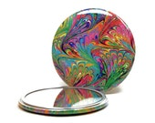 Marbled Pocket Mirror 1, Rainbow Marbled Paper Mirror, Small Glass Mirror