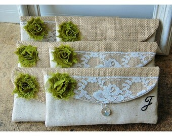 burlap lace wedding clutch set 5 rustic bag purse Personalize Bridesmaid party cotton linen Pouch gift MakeUp
