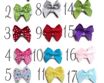 INFANT HAIR BOWS -- 6 Infant newborn Velcro Hair Bows -- Baby's First Bow - Cute Mini Traditional Bows red white pink blue yellow green