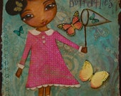 ACEO- Art Card- Limited Edition Print No.4 of 8- Mixed Media Art- Chasing Butterflies Girl