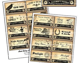 "Bad Fairy & Good Fairy Potion Pharmacy Labels 4x2"" digital collage sheet 100mm x 50mm magic beans"