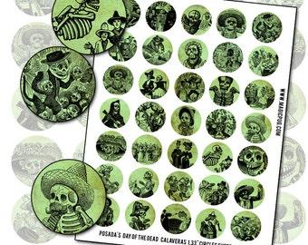 Day of the Dead Posada Calavera Green 1.33 inch 34 mm circle digital collage sheet  for bottlecap pinback badge
