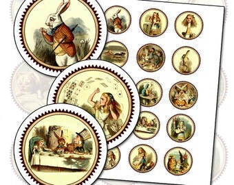 """Alice in Wonderland color gift tag 2"""" circle digital collage sheet  50mm printable badge for your tea party"""