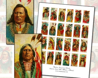 Native American Chiefs Digital Collage sheet domino size 1x2 1 x 2 25 mm x 50 mm